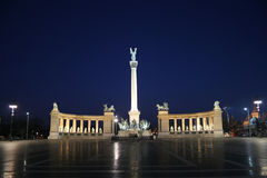 Budapest Heroes Square night. Budapest Heroes Square by Night with beautiful lights Stock Photography