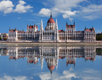 Budapest - Hungarian parliament. With reflection in Danube river Royalty Free Stock Photos