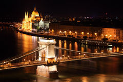 Budapest - Hungarian parliament and chain bridge. Stock Photography