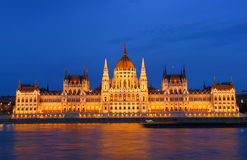 Budapest - Hungarian parliament at dusk Royalty Free Stock Image