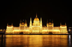Budapest Hungarian Parliament Night Royalty Free Stock Photos