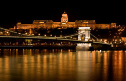 Budapest - Hungary. Nighttime  of Buda castle and Szechenyi chain bridge over Danube in Budapest Royalty Free Stock Photos