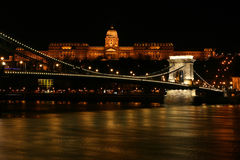 Budapest - Hungary. Nighttime of Buda castle (Budai Var) and Szechenyi chain bridge over Danube in Budapest, Hungary royalty free stock photo