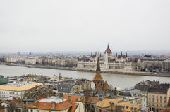 Budapest, Hungary. View over the rooftops of Budapest, Danube and Parliament building Royalty Free Stock Image