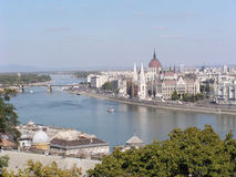 Budapest (Hungary). View of Pest and the Danube from Buda stock photos