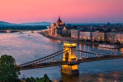 Budapest, Hungary. Panorama of Budapest, Hungary, with the Chain Bridge and the Parliament Royalty Free Stock Photo