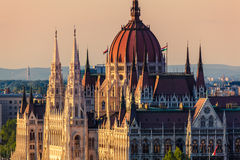 Budapest, Hungary. The Hungarian Parliament Building in Budapest at Sunset Royalty Free Stock Photography