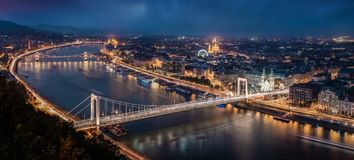 Budapest, Hungary - Aerial panoramic skyline of Budapest at blue hour. This view includes Elisabeth Bridge. Erzsebet Hid, Szechenyi Chain Bridge, Parliament and stock photography