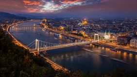 Budapest, Hungary - Aerial panoramic skyline of Budapest at sunset. This view includes Elisabeth Bridge Erzsebet Hid stock photos