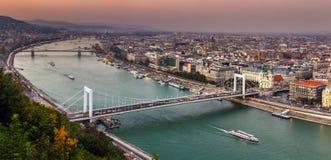 Budapest, Hungary - Aerial panoramic skyline of Budapest at sunset with Elisabeth Bridge Erzsebet Hid royalty free stock images