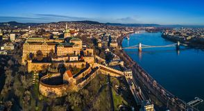 Budapest, Hungary - Aerial panoramic skyline view of Buda Castle Royal Palace with Szechenyi Chain Bridge, Hungarian Parliament. Budapest, Hungary - Aerial stock photo