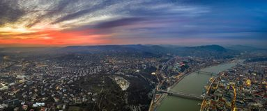 Budapest, Hungary - Aerial panoramic skyline view of Budapest from above with Citadel, Gellert Hill. Elisabeth and Szechenyi Chain Bridge and Buda Castle Royal stock photography