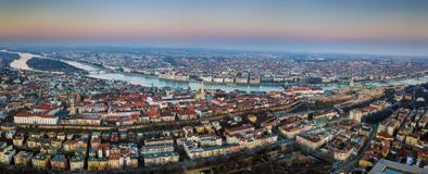 Budapest, Hungary - Aerial panoramic skyline view of Budapest at sunset. This view includes the Parliament of Hungary. Margaret Island and Bridge, Matthias Stock Photos