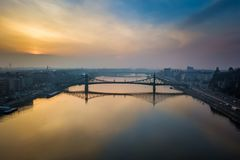 Budapest, Hungary - Aerial panoramic skyline view of Liberty Bridge over River Danube Royalty Free Stock Photo