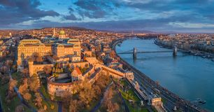 Budapest, Hungary - Aerial panoramic view of Buda Castle Royal Palace with Szechenyi Chain Bridge, Parliament stock images