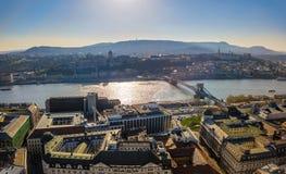 Budapest, Hungary - Aerial skyline view of Budapest with Buda Castle Royal Palace and Szechenyi Chain Bridge. At sunset royalty free stock image