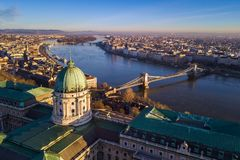 Budapest, Hungary - Aerial skyline view of Budapest with Buda Castle Royal Palace. Szechenyi Chain Bridge and Margaret Island early in the morning with clear royalty free stock images