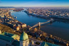 Budapest, Hungary - Aerial skyline view of Budapest with Buda Castle Royal Palace. Szechenyi Chain Bridge and Margaret Island early in the morning with clear royalty free stock photos