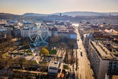 Budapest, Hungary - Aerial skyline view of center Budapest with Elisabeth Square and Buda Castle Royal Palace. At background at sunset stock image