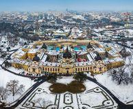 Budapest, Hungary - Aerial skyline view of the famous Szechenyi Thermal Bath in City Park Varosliget royalty free stock images