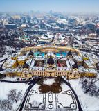Budapest, Hungary - Aerial skyline view of the famous Szechenyi Thermal Bath in City Park. Varosliget on a snowy winter morning royalty free stock image