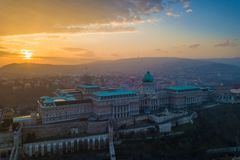 Budapest, Hungary - Aerial sunset view of Buda Castle Royal Palace. With Buda Hills at background royalty free stock photo