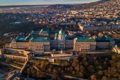 Budapest, Hungary - Aerial view of Buda Castle Royal Palace. Early in the morning stock images