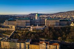 Budapest, Hungary - Aerial view of Buda Castle Royal Palace early in the morning. With clear blue sky stock photos