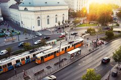 Aerial view of car and tram traffic at Small Boulevard in Budapest, Hungary Royalty Free Stock Photos