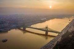 Budapest, Hungary - Aerial view of Liberty Bridge Szabadsag Hid over River Danube at sunrise Stock Image