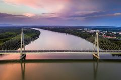 Budapest, Hungary - Aerial view of Megyeri Bridge over River Danube at sunset Royalty Free Stock Image