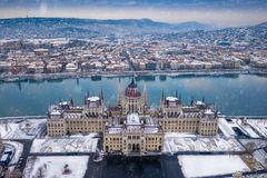 Budapest, Hungary - Aerial view of the Parliament of Hungary at winter time royalty free stock images