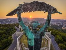 Budapest, Hungary - Aerial view of the Statue of Liberty at sunset royalty free stock photo