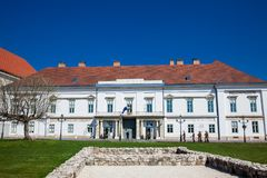 Historical Sandor Palace the official residence of the President of Hungary. BUDAPEST, HUNGARY - APRIL, 2018: Historical Sandor Palace the official residence of royalty free stock photo