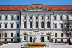 National Public Service University Campus Ludovica in Budapest. BUDAPEST, HUNGARY - APRIL, 2018: National Public Service University Campus Ludovica in Budapest royalty free stock images