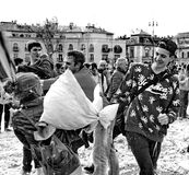 BUDAPEST, HUNGARY - APRIL 04:Pillow fight day on Heroes Square royalty free stock images