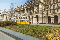 BUDAPEST, HUNGARY - APRIL 03, 2019: Tourists walking near the Parliament Hungary ,Budapest stock images