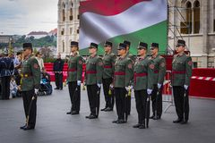 Festive speech by soldiers of the Hungarian army near the entrance to the parliament in honor of the day of Saint Istvan. stock images