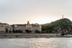 Gellert Thermal Baths and Swimming Pool in Budapest. Budapest, Hungary - August 12, 2017: Gellert Thermal Baths and Swimming Pool in Budapest. The bath complex stock photo