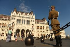 Budapest, Hungary - August 29, 2017: Honorary Guard on Lajos Kos. Huta Square near Hungarian Parliament Building in Budapest Royalty Free Stock Photos