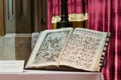 Old book with music sheets for the Canon for the Coronation Mass. Budapest, Hungary - August 12, 2017:  Old book with music sheets for the Canon for the Stock Photo
