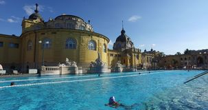 The oldest Szechenyi medicinal bath is the largest medicinal bath in Europe. stock video footage