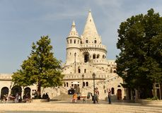 Budapest, Hungary - August 30, 2018: People near the Fisherman`s Bastion Halaszbastya in Budapest royalty free stock photos