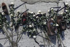 BUDAPEST, HUNGARY - august 26, 2017: Shoes on the Danube Bank to honor the Jews who were killed in Budapest during World War II Stock Images