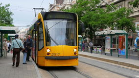 BUDAPEST - HUNGARY, AUGUST 2015: tram in daily traffic stock video footage
