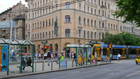 BUDAPEST - HUNGARY, AUGUST 2015: tram in daily traffic stock footage