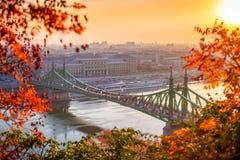 Budapest, Hungary - Autumn scene of beautiful Liberty Bridge Szabadsag Hid at sunrise. With lovely autumn foliage royalty free stock images