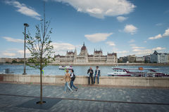 BUDAPEST, HUNGARY - AVRIL 16, 2016: Batthyány Square with Parli Stock Photography