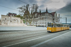 BUDAPEST, HUNGARY - AVRIL 15, 2016: Tram 2 at Kossuth Square Stock Images