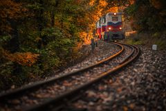 Budapest, Hungary - Beautiful autumn forest with foliage and old colorful train coming out of tunnel Royalty Free Stock Photos